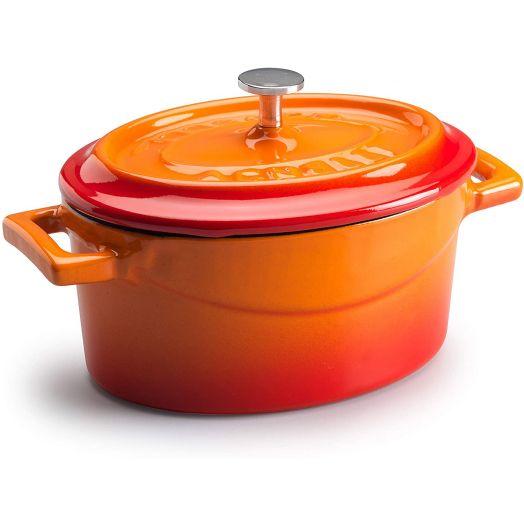 Pentole Agnelli Enamelled Cast Iron Oval - Orange