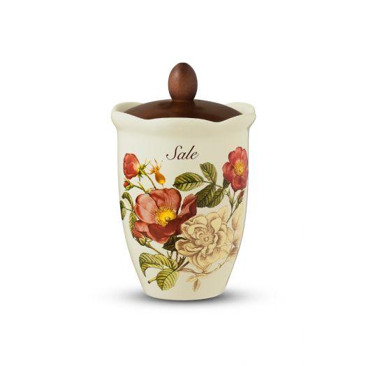 NUOVACER Ceramic Salt Jar - Walnut Lid