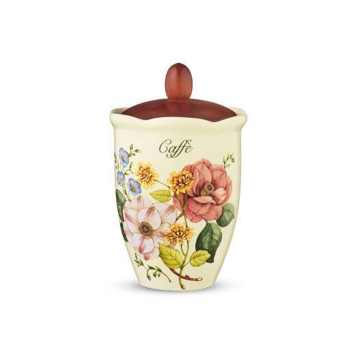 NUOVACER Ceramic Coffee Jar - Cherry Wood Lid