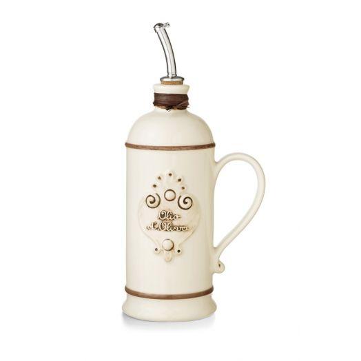 NUOVACER Ceramic Olive Oil Round Bottle 750ml -  Ivory