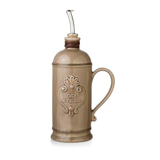 NUOVACER Ceramic Olive Oil Round Bottle 750ml -  Dove Grey