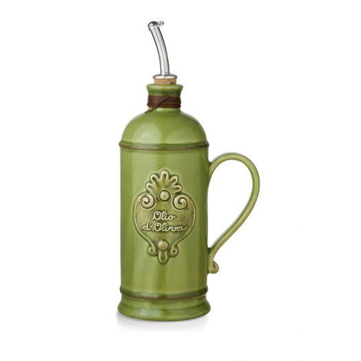 NUOVACER Ceramic Olive Oil Round Bottle 750ml -  Green