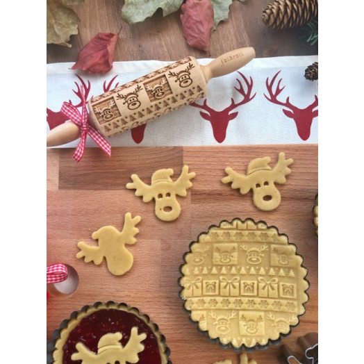 FOLKROLL CHRISTMAS wooden engraved rolling pin