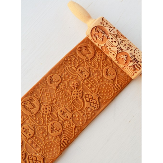 FOLKROLL MERRY CHRISTMAS wooden engraved rolling pin