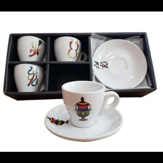 Espresso Cups 4 set - Scopa / Briscola Italian Playing Card Design