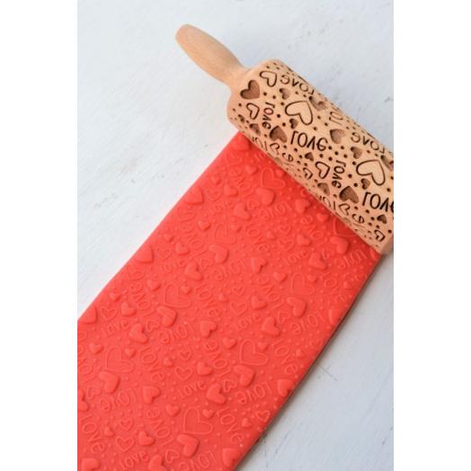 FOLKROLL LOVE wooden engraved rolling pin
