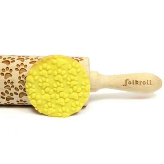FOLKROLL PAW PRINTS wooden engraved rolling pin