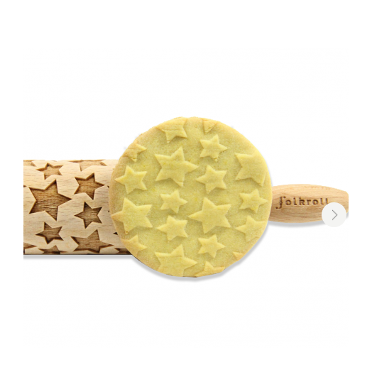 FOLKROLL STARS PATTERN wooden engraved rolling pin